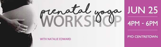 Prenatal yoga workshop banner